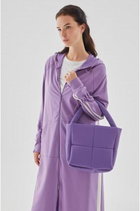 حقيبة يد نسائية مزينة بخطوط درزة - بنفسجي