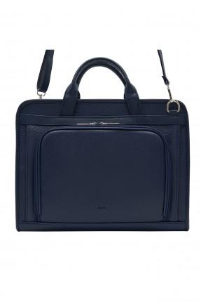 حقيبة يد رجالية جلد بجيب وبسحابات - كحلي
