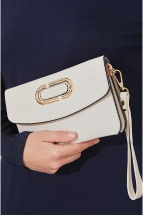 حقيبة يد نسائية مزينة بقطع معدنية - بيج