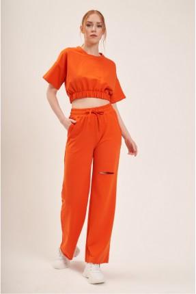 بنطال رياضة نسائي ممزق - برتقالي