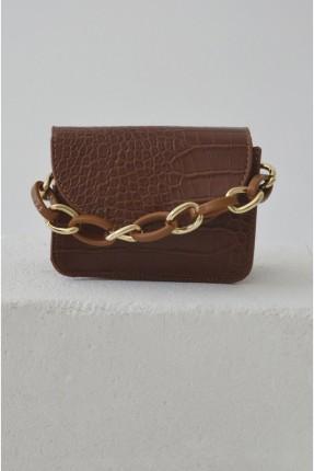 حقيبة يد نسائية بسلسلة معدنية - بني