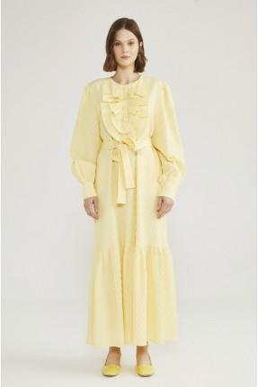 فستان باكمام طويلة مزين بكشكشة - اصفر