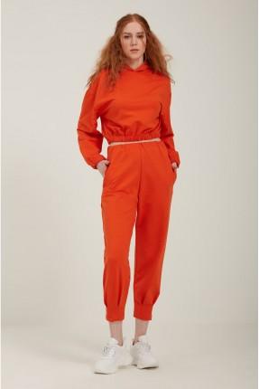 بنطال رياضة نسائي بجيوب - برتقالي