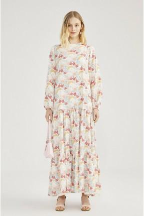 فستان مزين بنقشة زهور ملونة