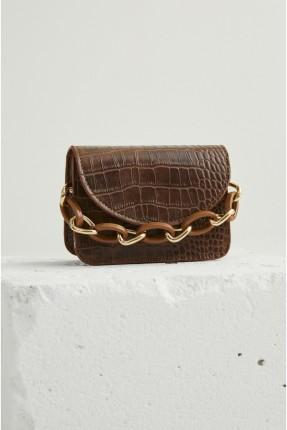 حقيبة يد نسائية بسلسلة معدنية عريضة - بني