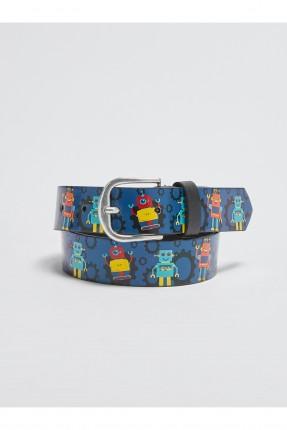 حزام اطفال ولادي جلد مزين برسومات ملونة