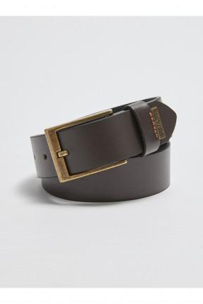 حزام اطفال ولادي جلد ببكلة معدنية - بني