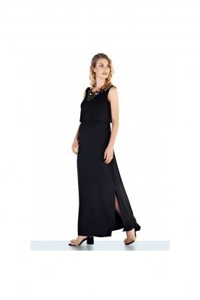 فستان حمل طويل سادة - اسود