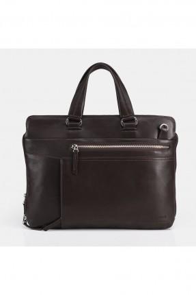 حقيبة يد رجالية بسحاب جانبي - بني