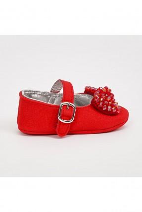خفافة بيبي بناتي مزينة بفيونكة - احمر