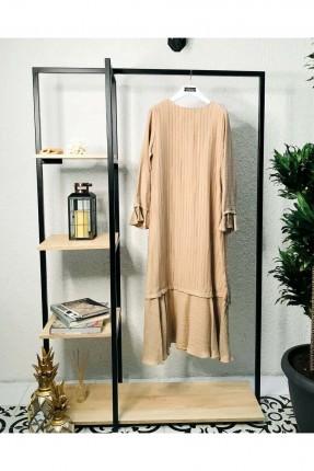 فستان سادة اللون - بيج