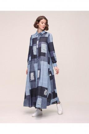فستان طويل بنقشة وبازرار - ازرق