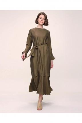 فستان سادة اللون - زيتي