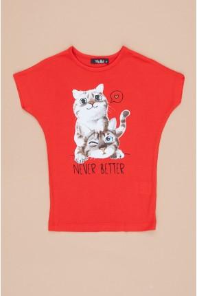 تيشرت اطفال بناتي بطبعة قطة - احمر