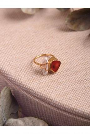 خاتم نسائي بحجر برتقالي