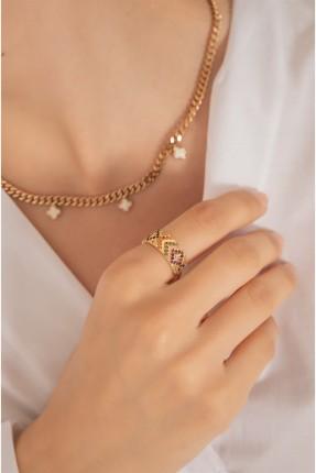 خاتم نسائي بتفاصيل ملونة - ذهبي