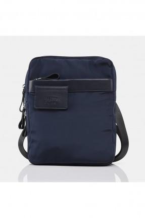 حقيبة يد رجالية بتفاصيل جلد - كحلي