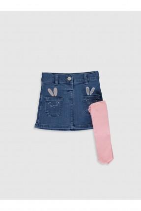 تنورة بيبي بناتي جينز بطبعة مع كولون