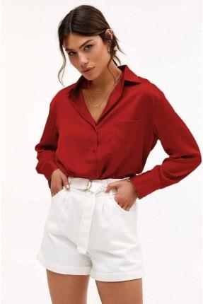 قميص نسائي بقصة كلاسيكية - احمر