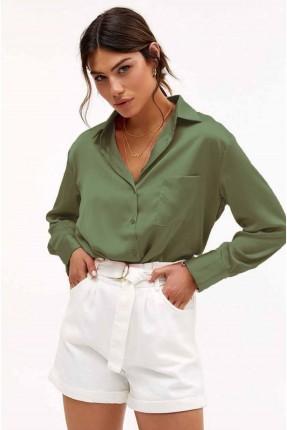 قميص نسائي سادة اللون - اخضر