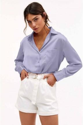 قميص نسائي سادة اللون - بنفسجي