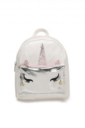 حقيبة ظهر اطفال بناتي بطبعة يونيكورن - ابيض