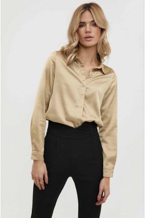 قميص نسائي ساتان - بيج