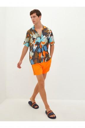 شورت سباحة رجالي سادة اللون - برتقالي