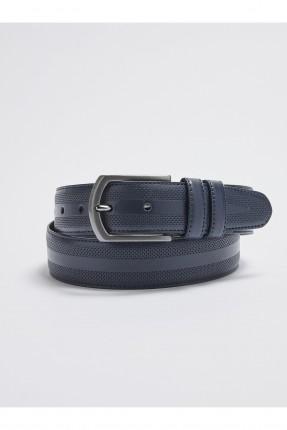 حزام رجالي جلد بنقشة - كحلي