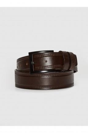 حزام رجالي جلد بنقشة - بني
