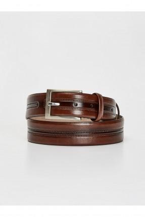 حزام رجالي جلد - بني