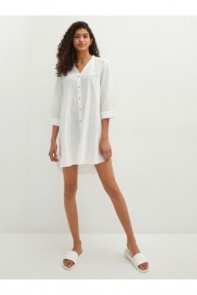 فستان موديل قميص للبحر سادة اللون