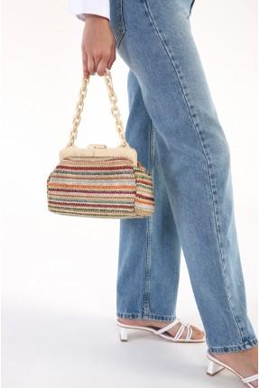 حقيبة يد نسائية بخطوط ملونة
