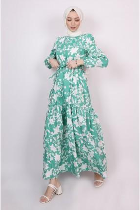 فستان طويل بنقشة ازهار - اخضر