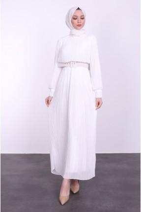 فستان طويل سادة اللون بحزام - ابيض