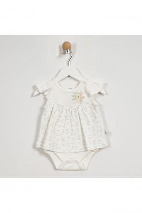 فستان بيبي بناتي بطبعة - ابيض
