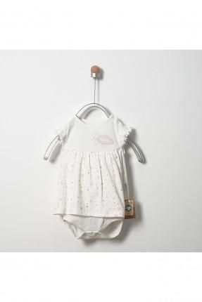 فستان بيبي بناتي بكشكش - ابيض