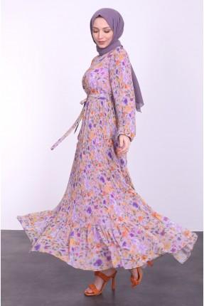 فستان طويل بنقشة ملونة - بنفسجي