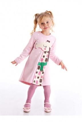 فستان اطفال بناتي بطبعة زرافة - زهري