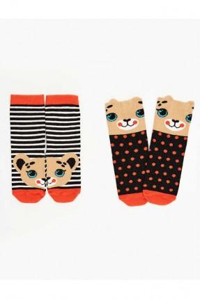 جوارب اطفال بناتي عدد 2 بنقشة