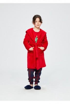 كيمونو اطفال بناتي بكابيشون - احمر