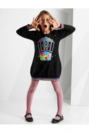 فستان اطفال بناتي بطبعة ملونة - اسود