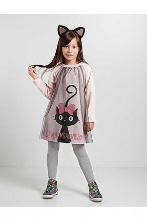 فستان اطفال بناتي مزين بالتول وبطبعة قطة