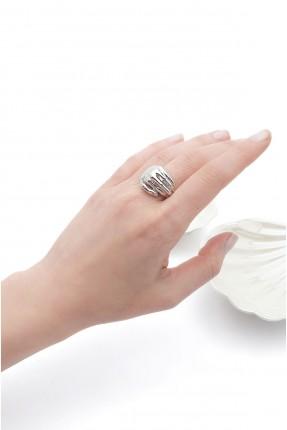 خاتم نسائي بشكل يد - فضي