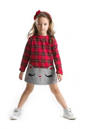 فستان اطفال بناتي كارو بطبعة قطة - احمر