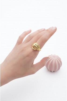 خاتم نسائي بشكل يد - ذهبي