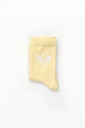 جوارب اطفال بناتي مزين برسمة - اصفر
