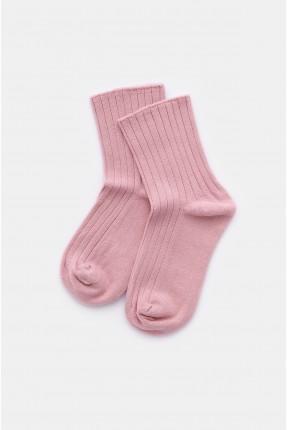جوارب اطفال بناتي سادة اللون - زهري