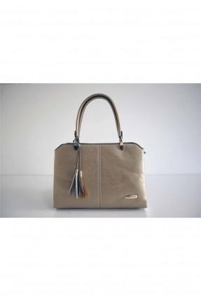 حقيبة يد نسائية مزينة بشراشيب - ذهبي