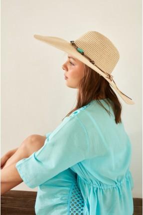 قبعة نسائية قش - بيج